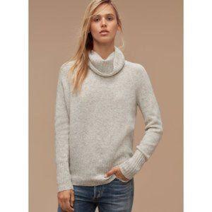 ARITZIA COMMUNITY Light Grey Plutarch Wool & Yak Turtleneck Knited Sweater SZ XS